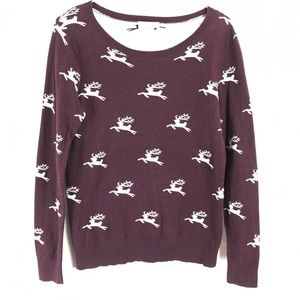 Loft Reindeer Roundneck Pullover Sweater Small